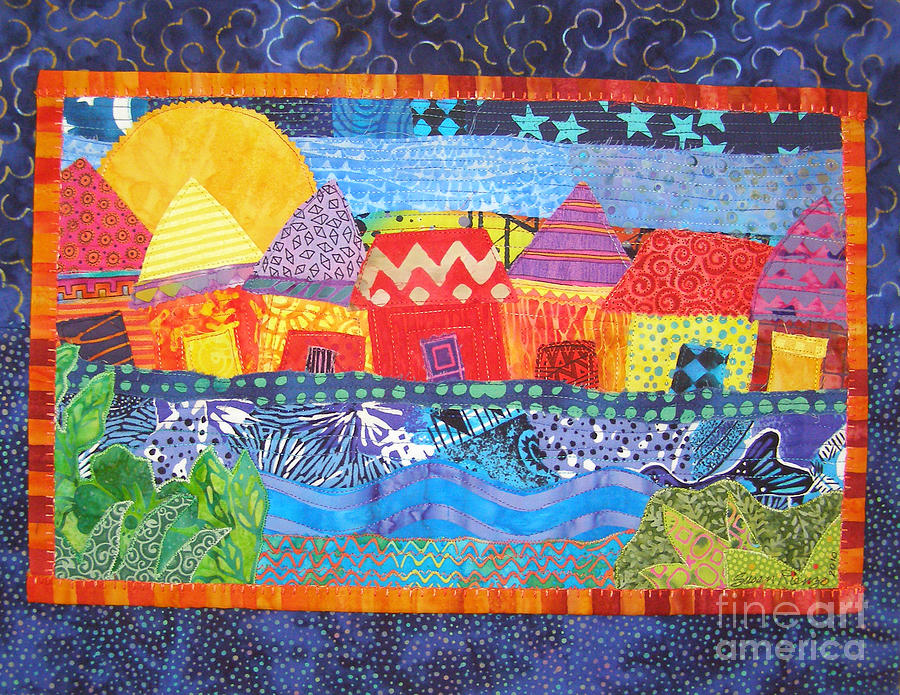 Fiber Tapestry - Textile - Tropical Harmony by Susan Rienzo