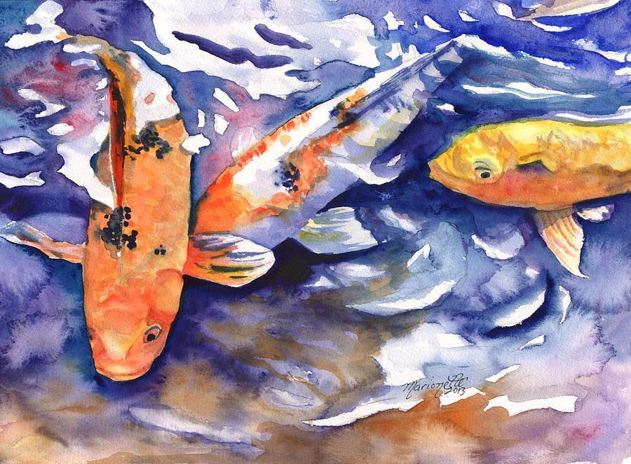 Tropical koi fish painting by marionette taboniar for Japanese koi fish artwork