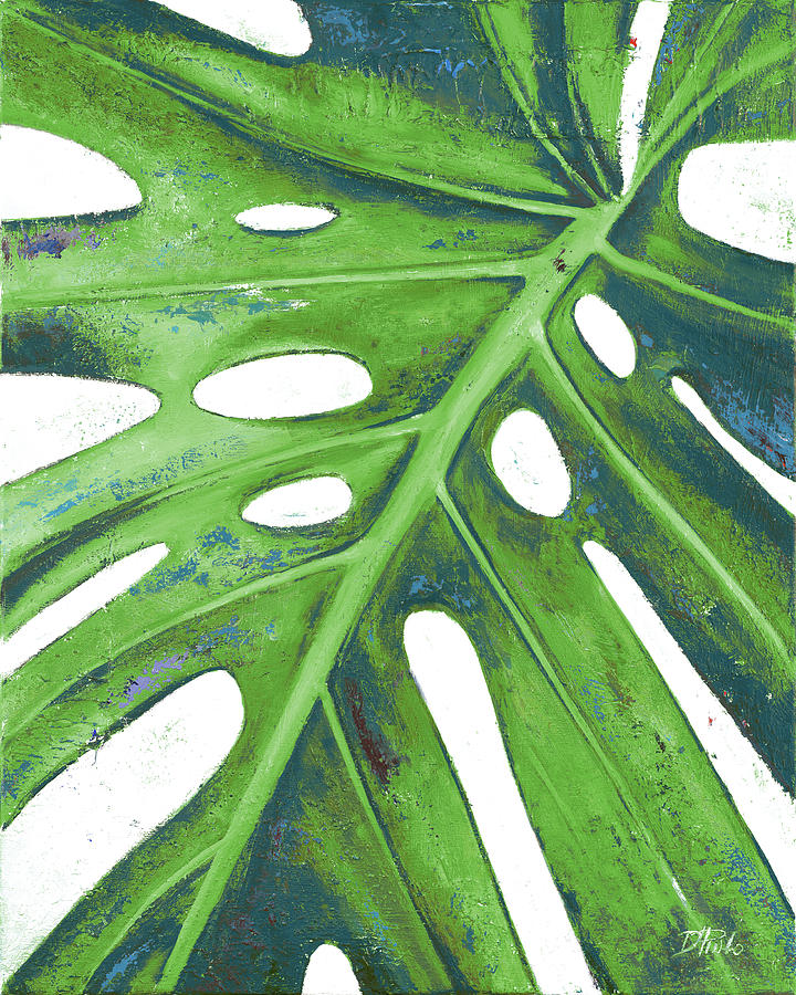 Tropical Painting - Tropical Leaf With Blue I by Patricia Pinto