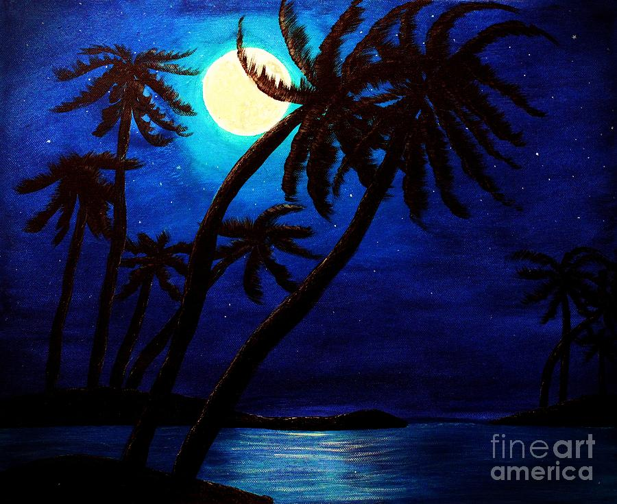 Barbara Griffin Painting - Tropical Moon on the Islands by Barbara Griffin