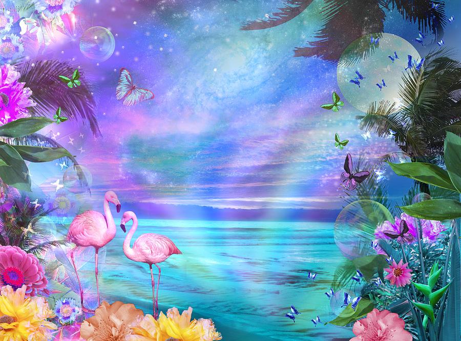 Fantasy Photograph - Tropical Moonlight Flamingos by Alixandra Mullins