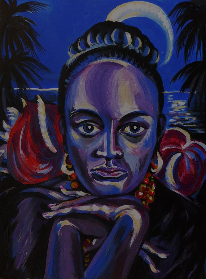 Acrylic Painting - Tropical Night by Anna  Duyunova