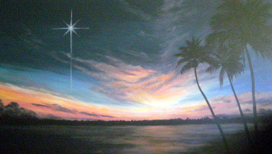 Sunset Painting - Tropical Night by Mary Taglieri