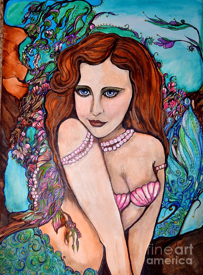 Mermaid Drawing - Tropical Paradise Mermaid by Valarie Pacheco