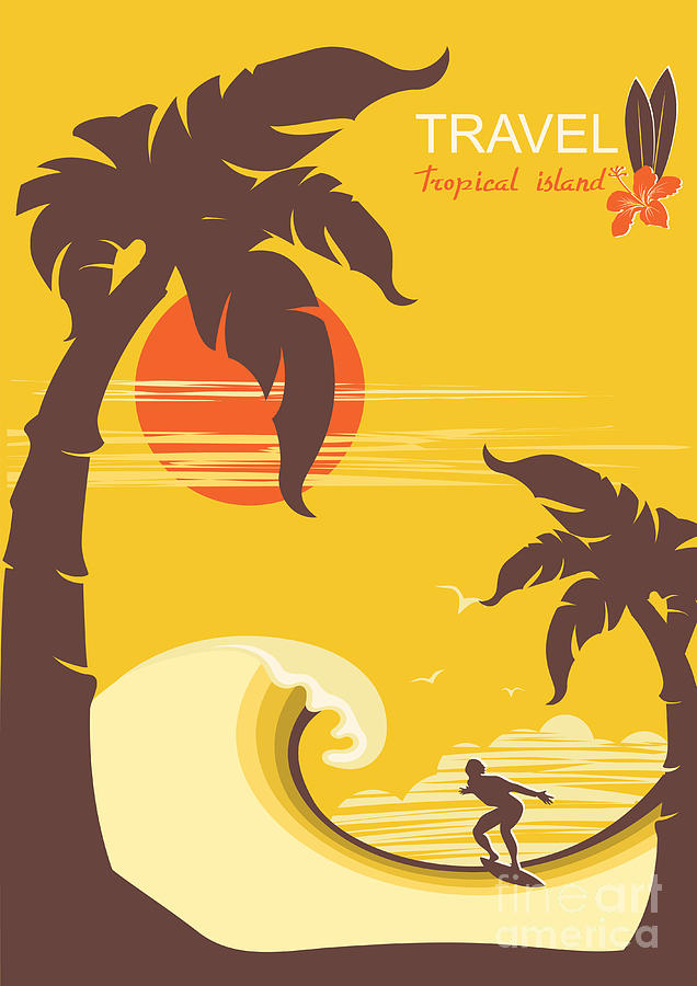 Surfboard Digital Art - Tropical Paradise With Palms Island by Tancha