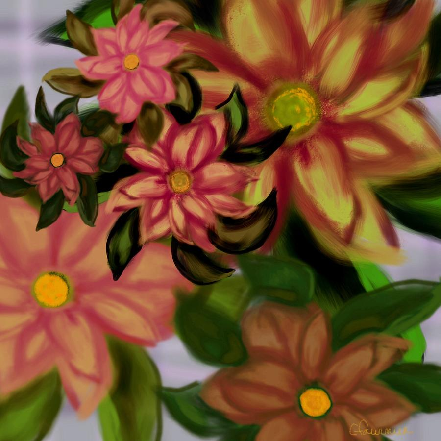 Floral Painting - Tropical Plaid by Christine Fournier