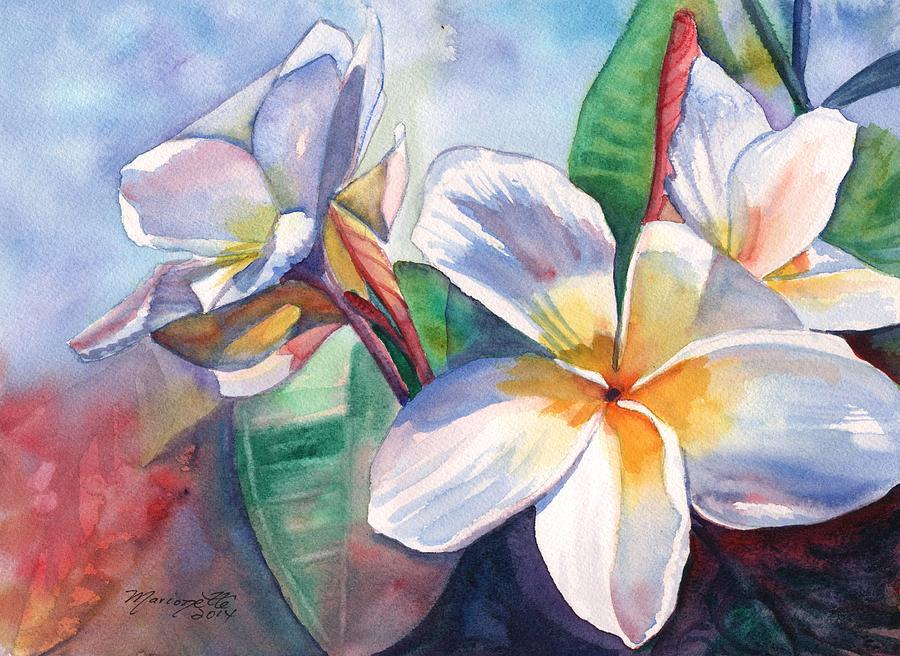Plumeria Painting - Tropical Plumeria Flowers by Marionette Taboniar
