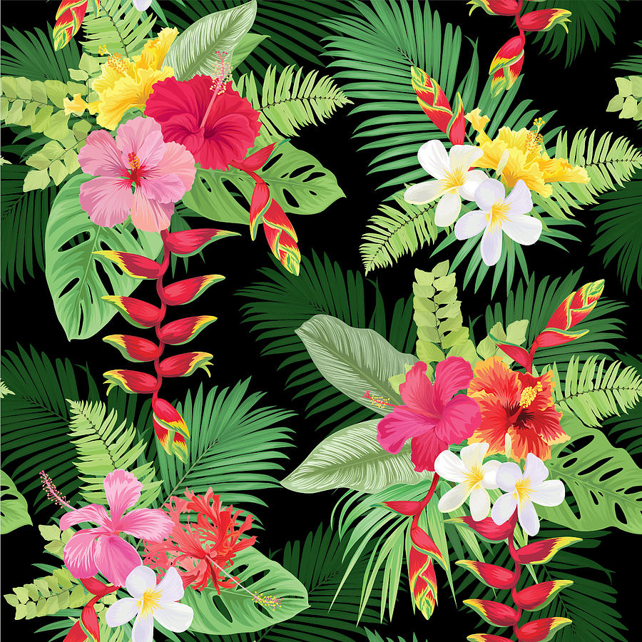 Tropical Seamless Pattern With Colorful Hibiscus Flowers And Bird Of