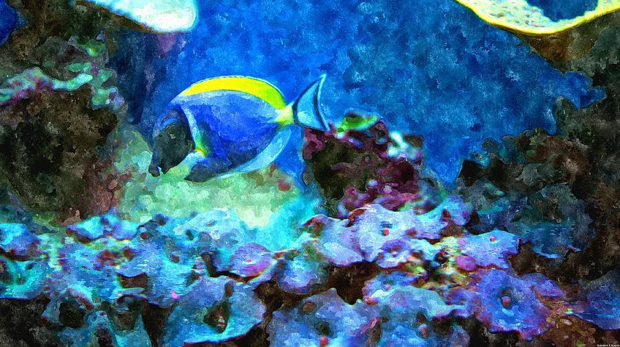 Tropical Seas Powder Blue Tang  Painting by Rosemarie E Seppala