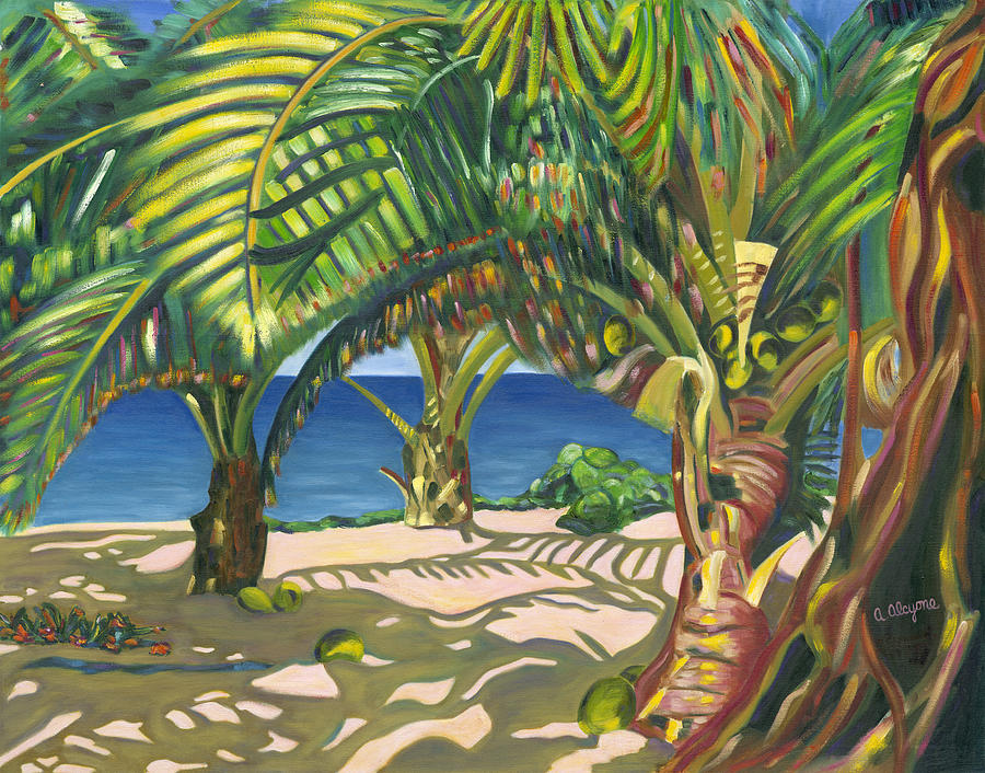 Tropical Painting - Tropical Shadows by Artimis Alcyone