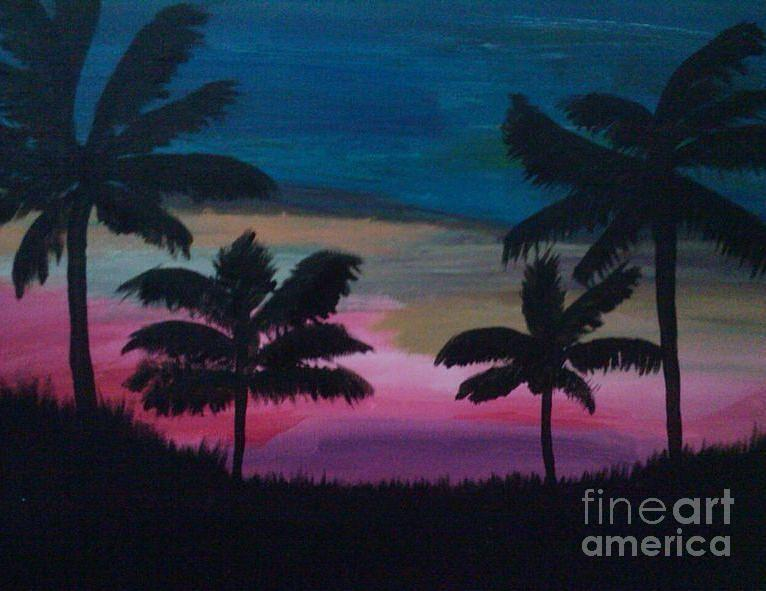 Sunset Painting - Tropical Sunset by Krystal Jost