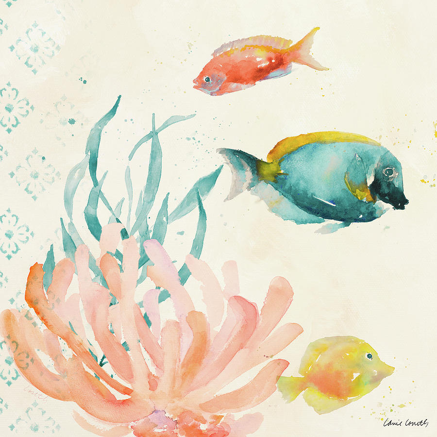 Tropical Teal Coral Medley Ii Painting By Lanie Loreth