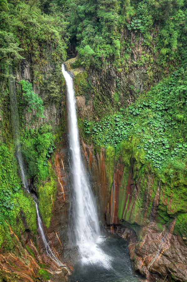 Tropical Waterfall In Volcanic Crater Photograph by Ogphoto