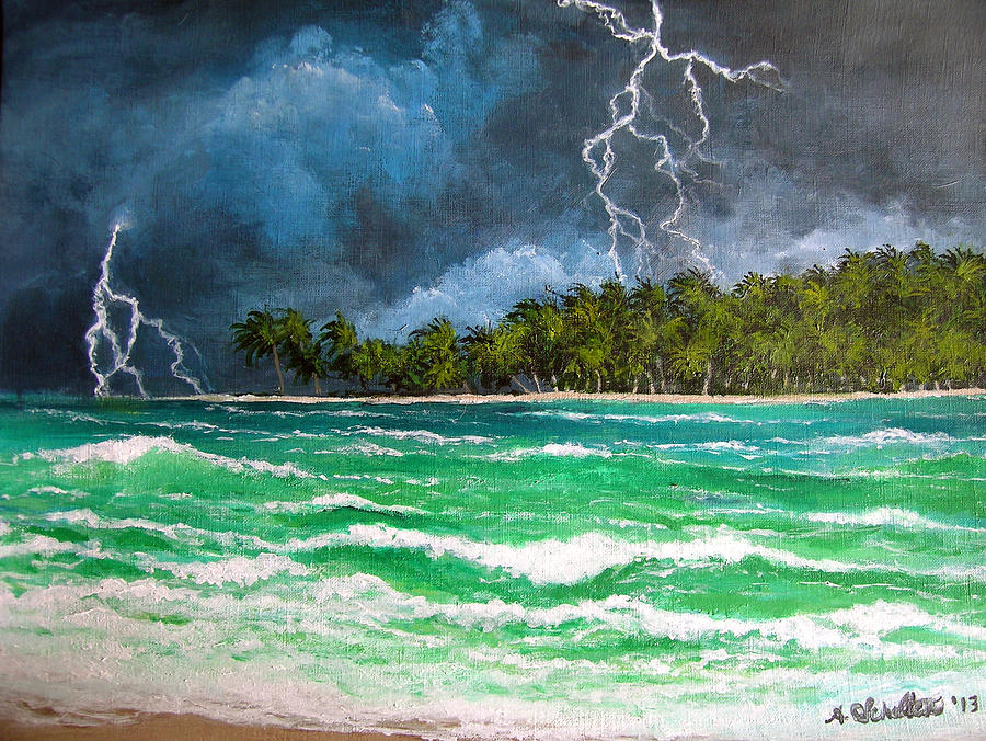 Tropical Lightning Storm Across The Ocean Painting By Amy Scholten