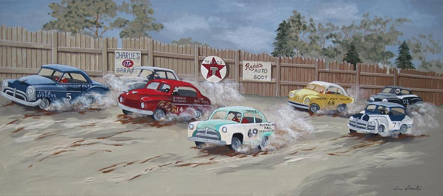 Vintage Cars Painting - Trouble In Turn Two by Jennifer  Donald