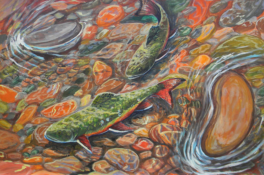 Trout Painting - Trout Stream by Jenn Cunningham