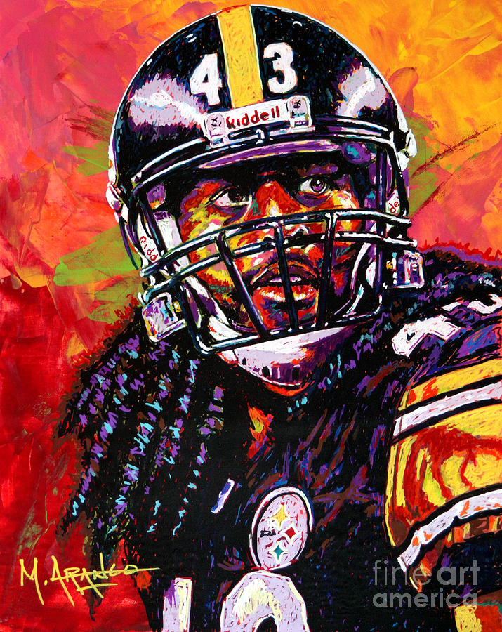 Troy Painting - Troy Polamalu by Maria Arango