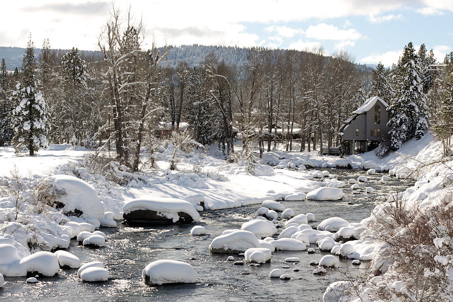 Snow Photograph - Truckee River At Christmas by Denice Breaux