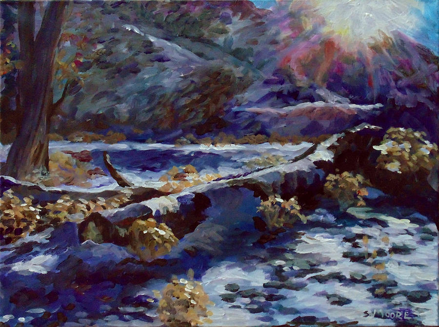 Truckee River Snow Tree Painting by Susan Moore