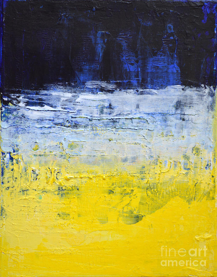 Perfect True Mind - Blue Yellow White Abstract By Chakramoon Painting by  PT26
