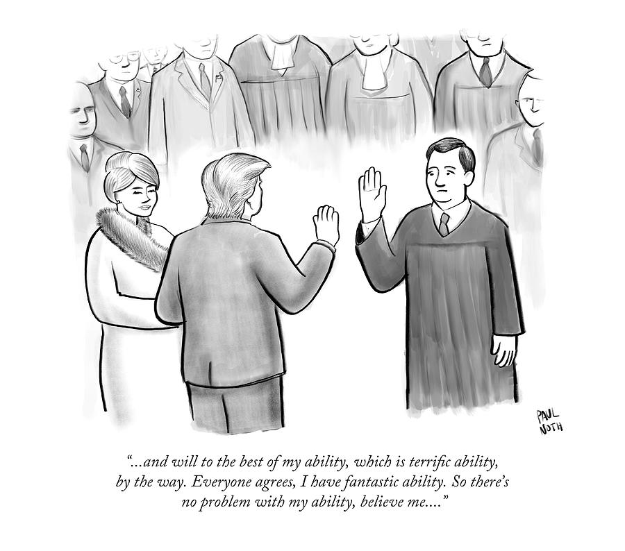 Trump Being Sworn Into Office Drawing by Paul Noth