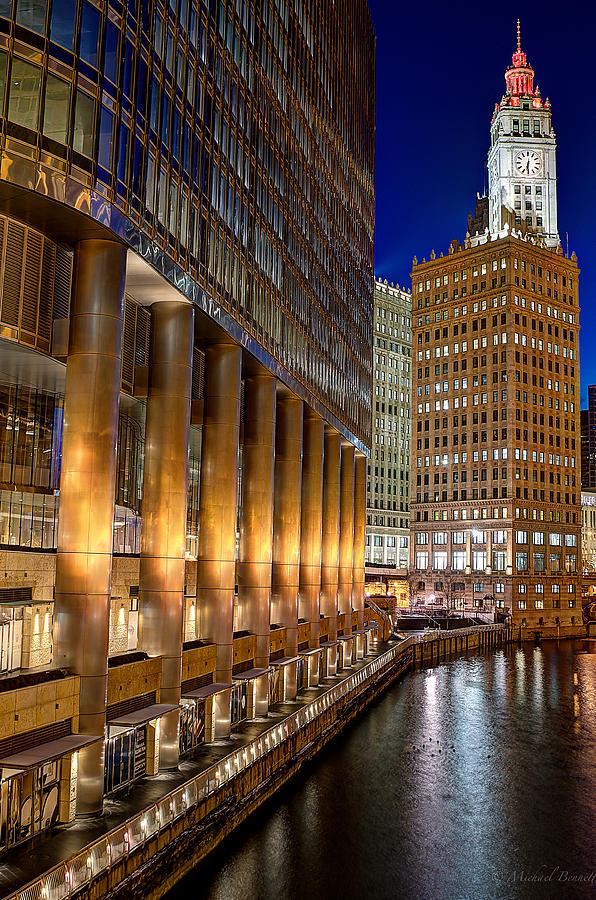 Buildings Photograph - Trump Wrigley Chicago River Blue Hour by Michael  Bennett