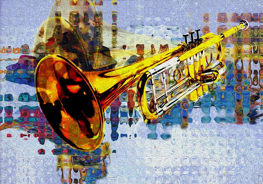 Trumpet Painting - Trumpet by Jack Zulli