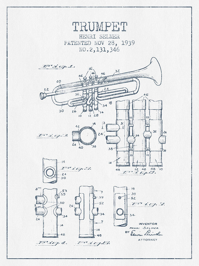 Trumpet Drawing - Trumpet Patent From 1939 - Blue Ink by Aged Pixel