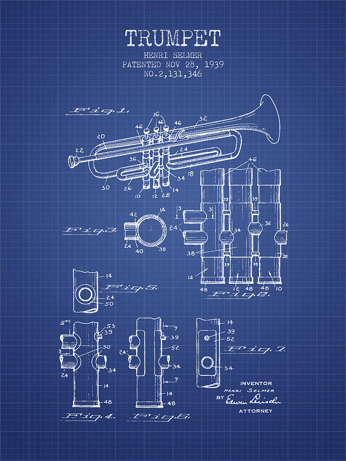 Trumpet patent from 1939 blueprint digital art by aged pixel trumpet digital art trumpet patent from 1939 blueprint by aged pixel malvernweather Images
