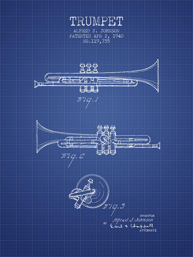 Trumpet patent from 1940 blueprint digital art by aged pixel trumpet digital art trumpet patent from 1940 blueprint by aged pixel malvernweather Image collections