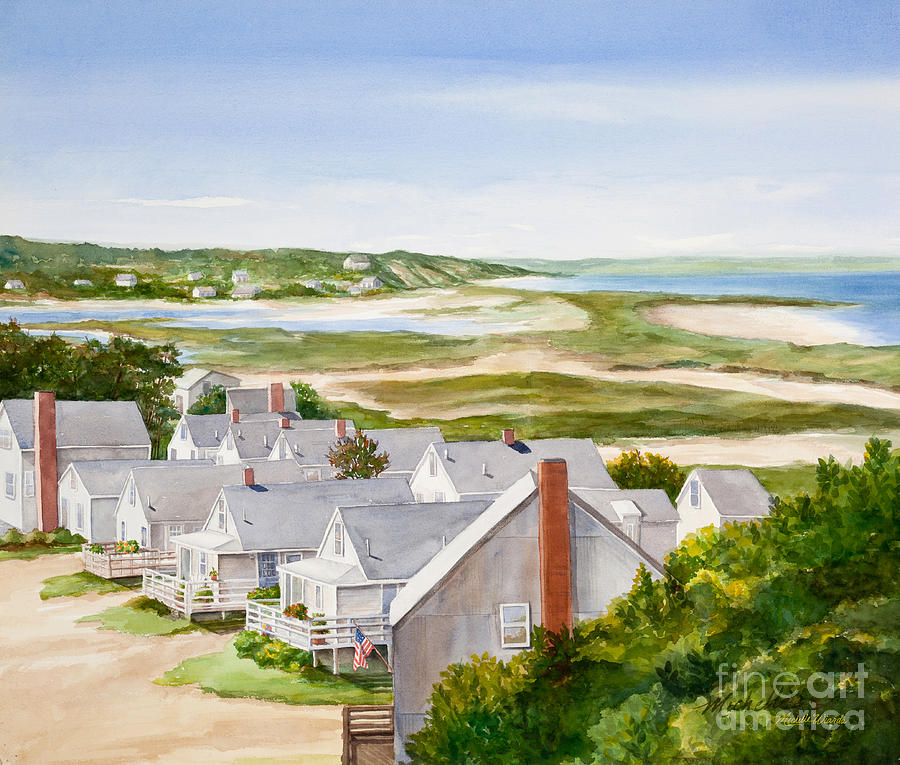 Watercolor Painting - Truro Summer Cottages by Michelle Wiarda