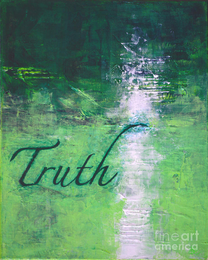 Color Painting - Truth - Emerald Green Abstract By Chakramoon by Belinda Capol