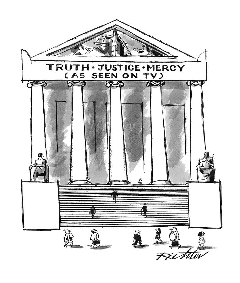 Court Houses Drawing - Truth Justice Mercy by Mischa Richter