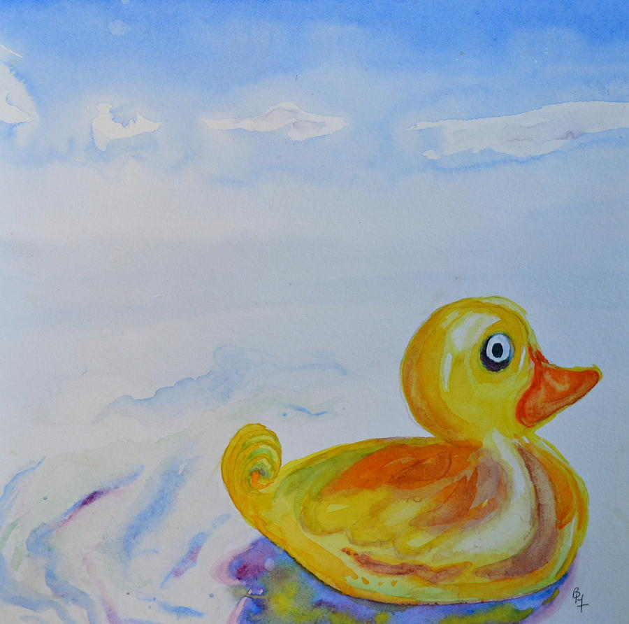 Duck Painting - Trying Out The Big Water by Beverley Harper Tinsley