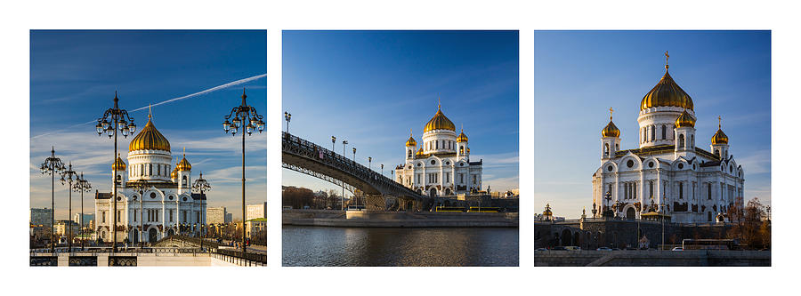 Architecture Photograph - Tryptich - Cathedral Of Christ The Savior Of Moscow City - Features 3 by Alexander Senin
