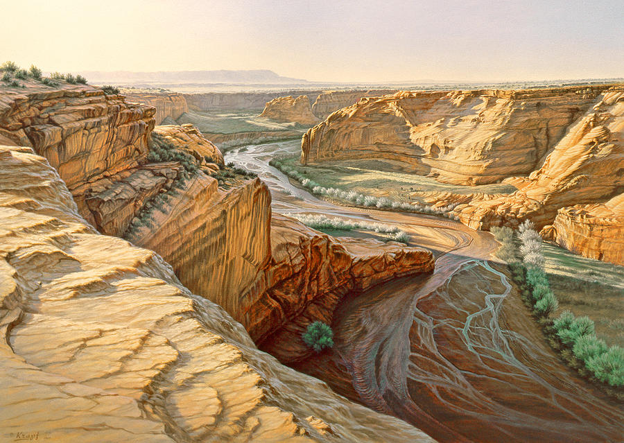 Landscape Painting - Tsegi Overlook - Canyon De Chelly by Paul Krapf