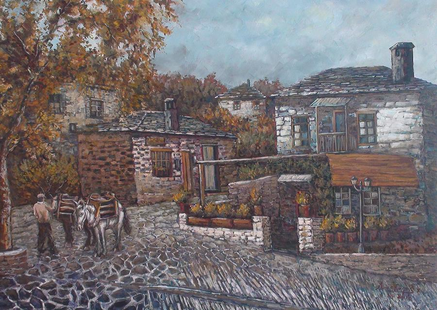 Landscape Painting - Tsepelovo Epirus by Charalampos Laskaris