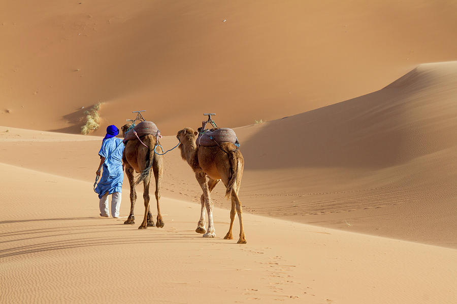 Color Image Photograph - Tuareg Man With The Typical Blue Dress by Mauro Ladu