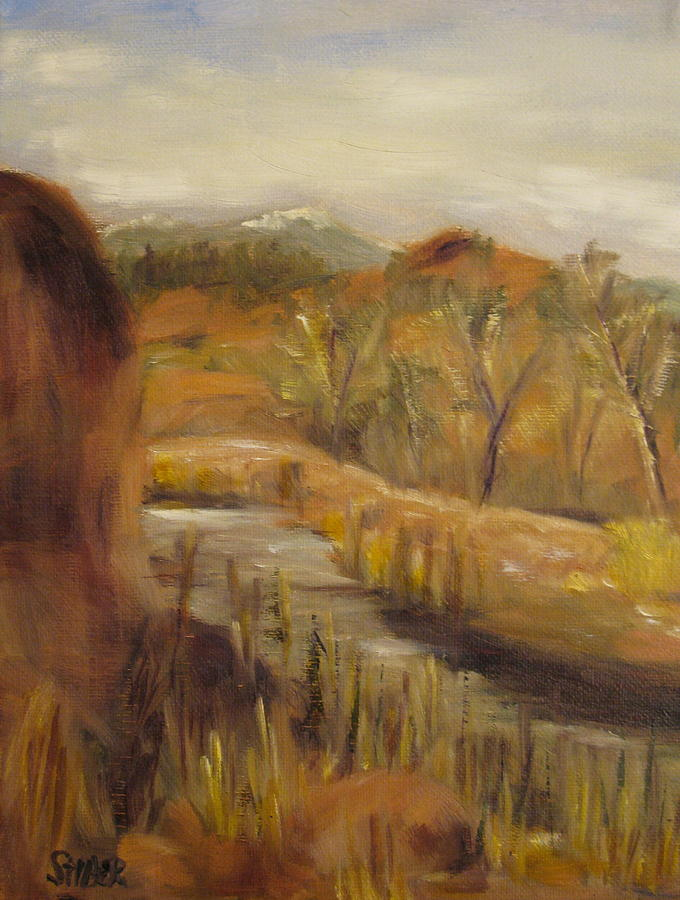 River Painting - Tucked Away by Kathy Stiber