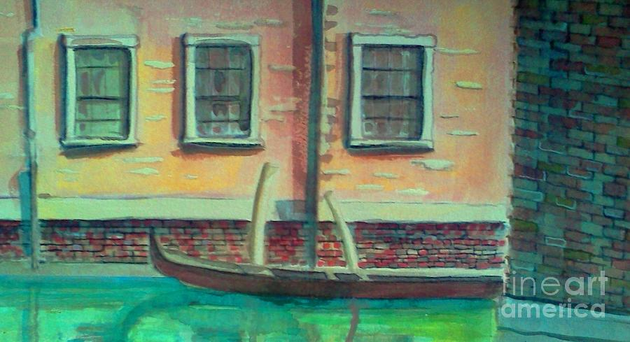 Venice Painting - Tucked Into The Canal by Rita Brown