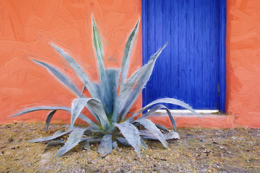 Arizona Photograph - Tucson Barrio Blue Door Painterly Effect by Carol Leigh