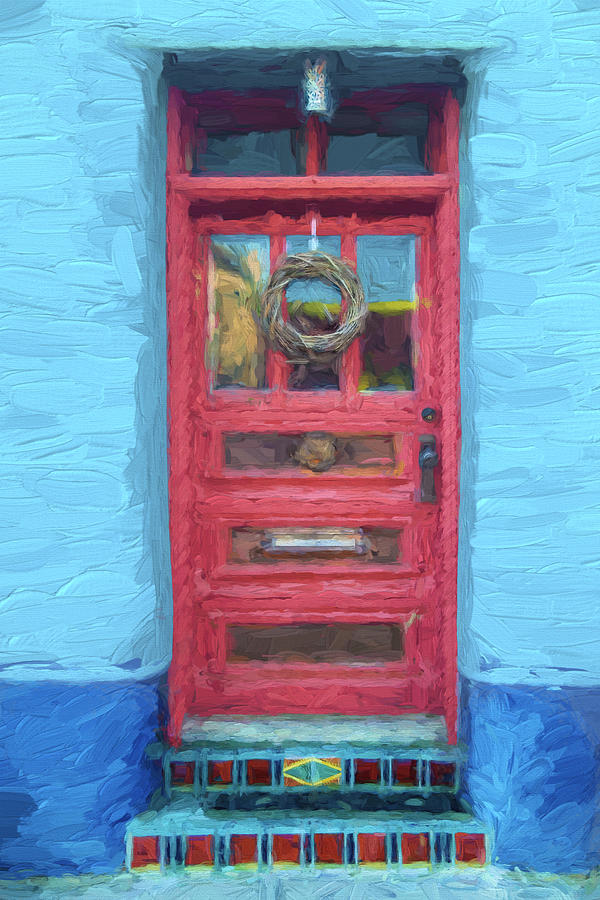 Arizona Mixed Media - Tucson Barrio Red Door Painterly Effect by Carol Leigh