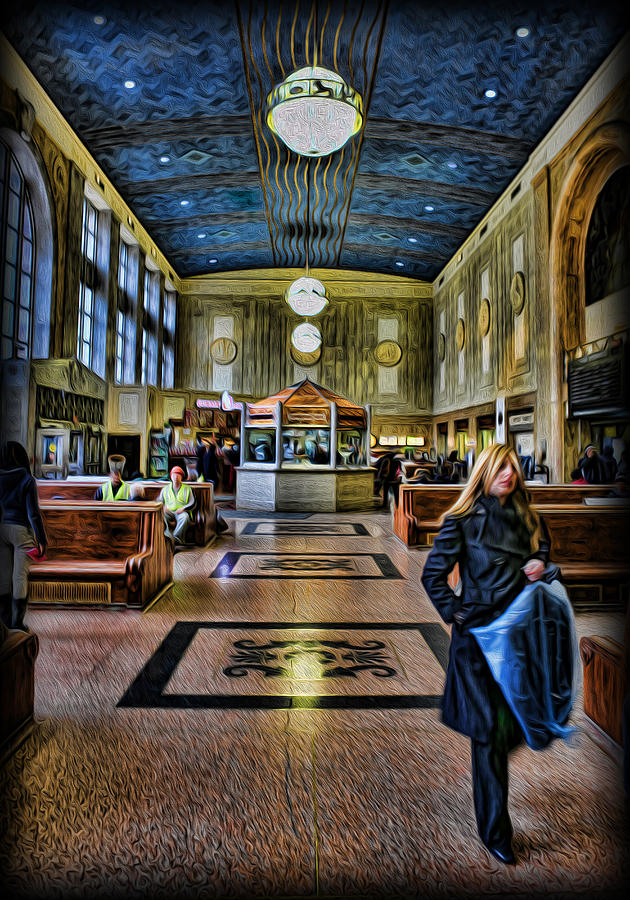 Digital Painting Photograph - Tuesday Afternoon At The Train Station by Lee Dos Santos
