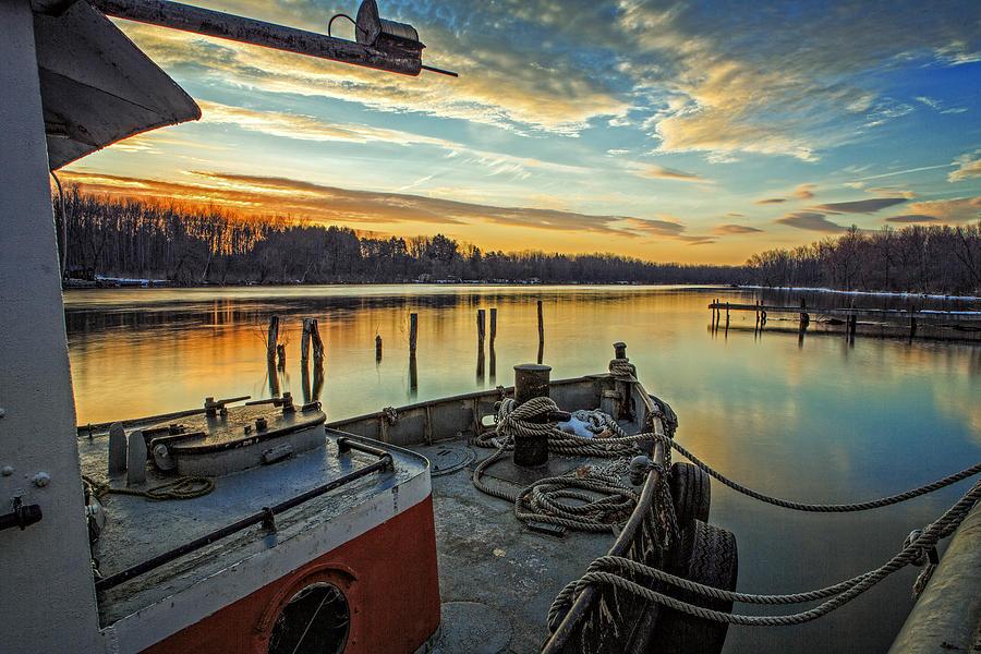 Tug Photograph - Tug at sunrise by Everet Regal