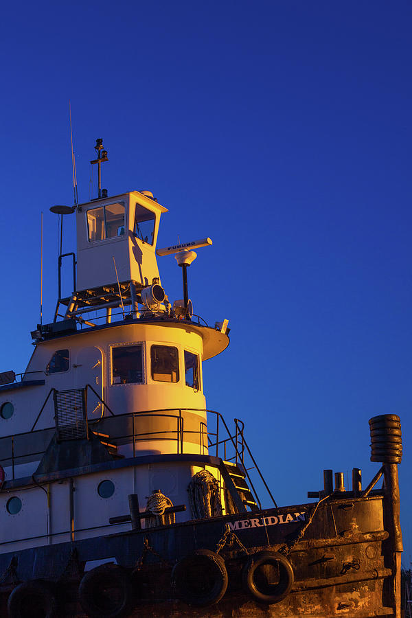Vertical Photograph - Tug Boat At Dawn, Cape Ann, Gloucester by Panoramic Images
