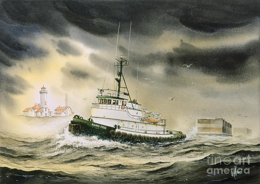 Tugs Painting - Tugboat Agnes Foss by James Williamson