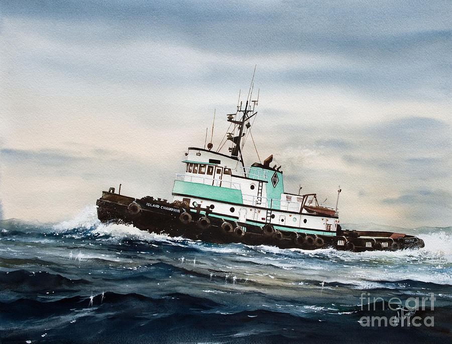 Tugs Painting - Tugboat Island Champion by James Williamson