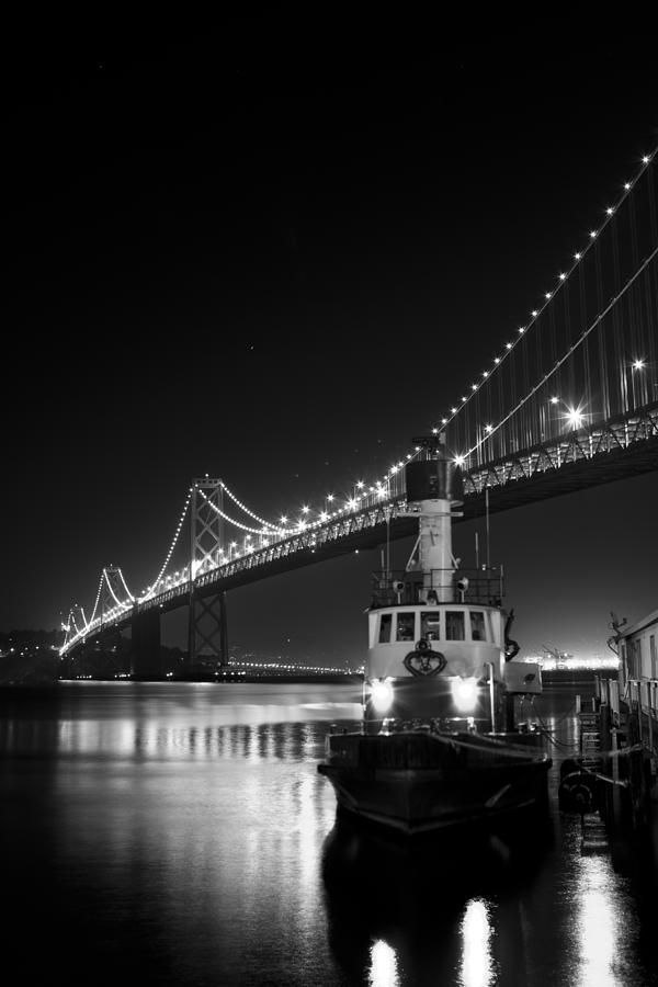 Tugboat Under the Bay Bridge by Bryant Coffey