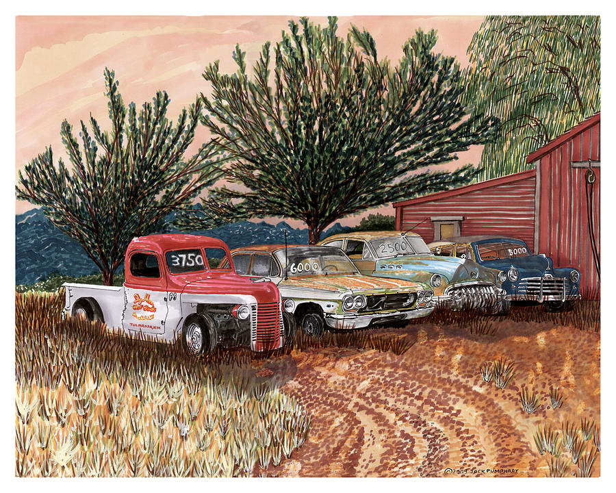 Classic Car Drawings Painting - Tularosa Motors by Jack Pumphrey