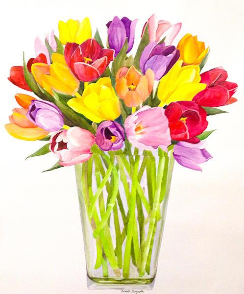 Tulip Painting - Tulip Bunch by Sonali Sengupta